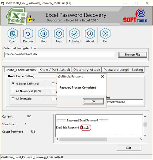 Freeware Excel Password Recovery