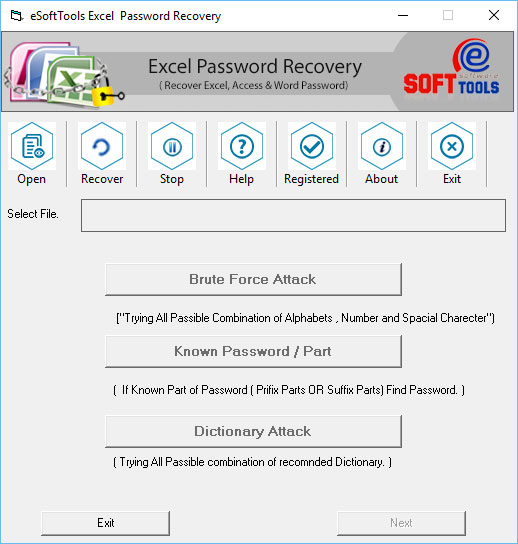 MS Excel Password Recovery Tool - click for full size